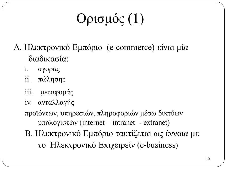 10 Ορισμός (1) Α. Ηλεκτρονικό Εμπόριο (e commerce) είναι μία διαδικασία: i. ii. αγοράς πώλησης iii. μεταφοράς iv. ανταλλαγής προϊόντων, υπηρεσιών, πλη
