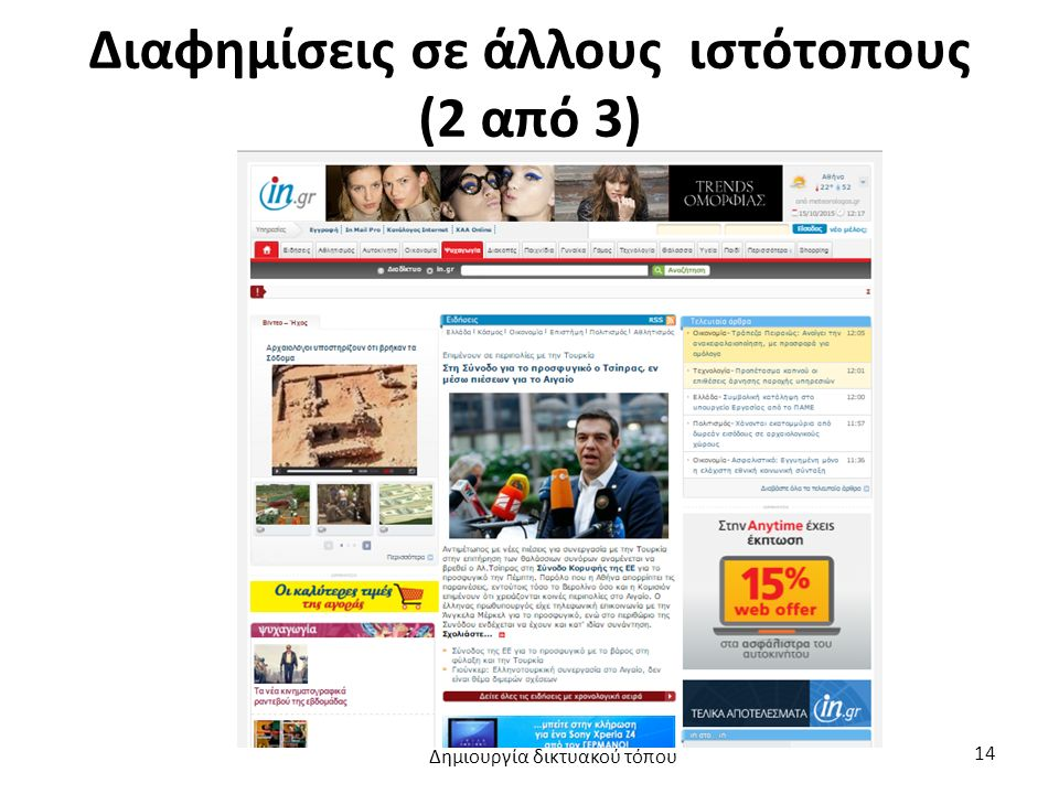 Διαφημίσεις σε άλλους ιστότοπους (2 από 3) Δημιουργία δικτυακού τόπου 14