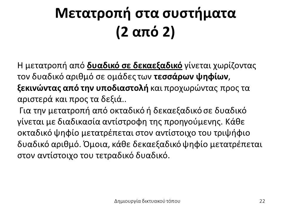 Μετατροπή στα συστήματα (2 από 2) Η μετατροπή από δυαδικό σε δεκαεξαδικό γίνεται χωρίζοντας τον δυαδικό αριθμό σε ομάδες των τεσσάρων ψηφίων, ξεκινώντ