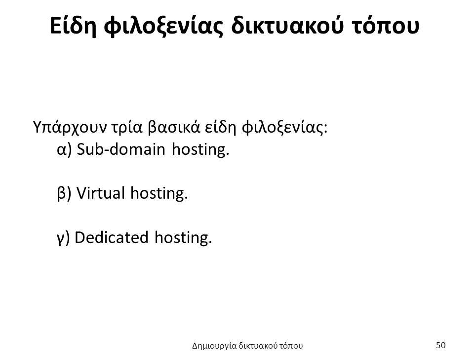 Είδη φιλοξενίας δικτυακού τόπου Υπάρχουν τρία βασικά είδη φιλοξενίας: α) Sub-domain hosting. β) Virtual hosting. γ) Dedicated hosting. Δημιουργία δικτ