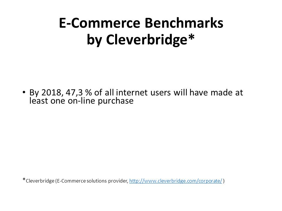 E-Commerce Benchmarks by Cleverbridge* By 2018, 47,3 % of all internet users will have made at least one on-line purchase * Cleverbridge (E-Commerce s