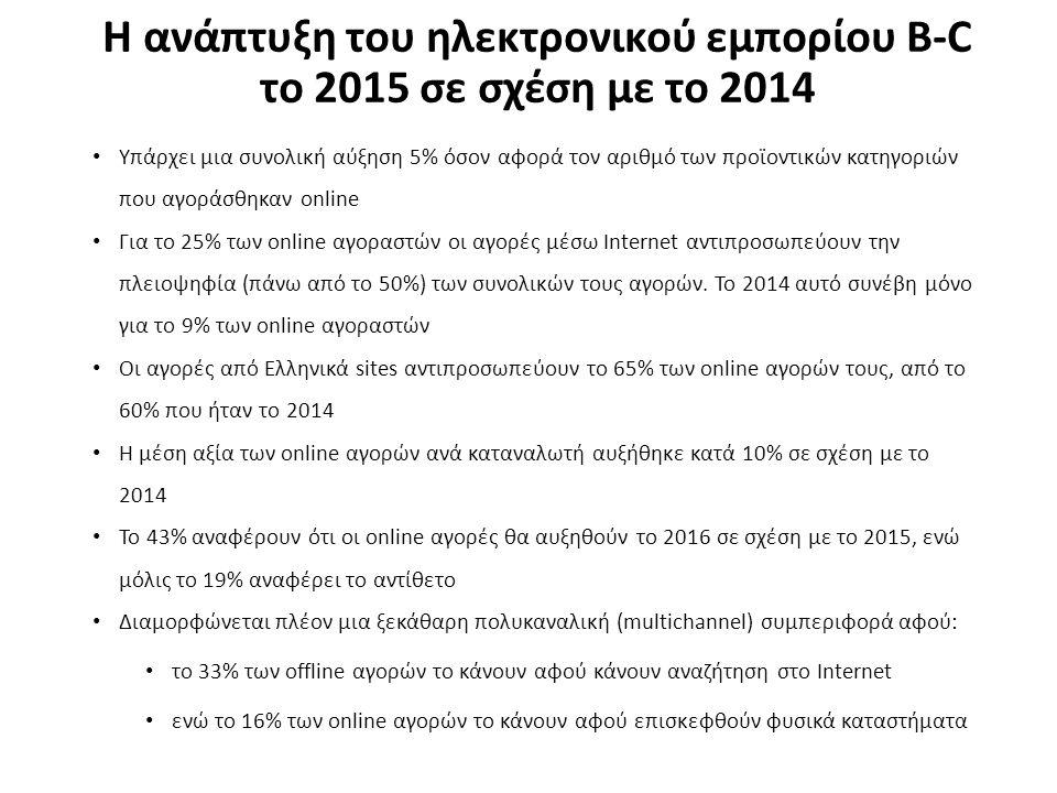 Η ανάπτυξη του ηλεκτρονικού εμπορίου B-C το 2015 σε σχέση με το 2014 Υπάρχει μια συνολική αύξηση 5% όσον αφορά τον αριθμό των προϊοντικών κατηγοριών που αγοράσθηκαν online Για το 25% των online αγοραστών οι αγορές μέσω Internet αντιπροσωπεύουν την πλειοψηφία (πάνω από το 50%) των συνολικών τους αγορών.