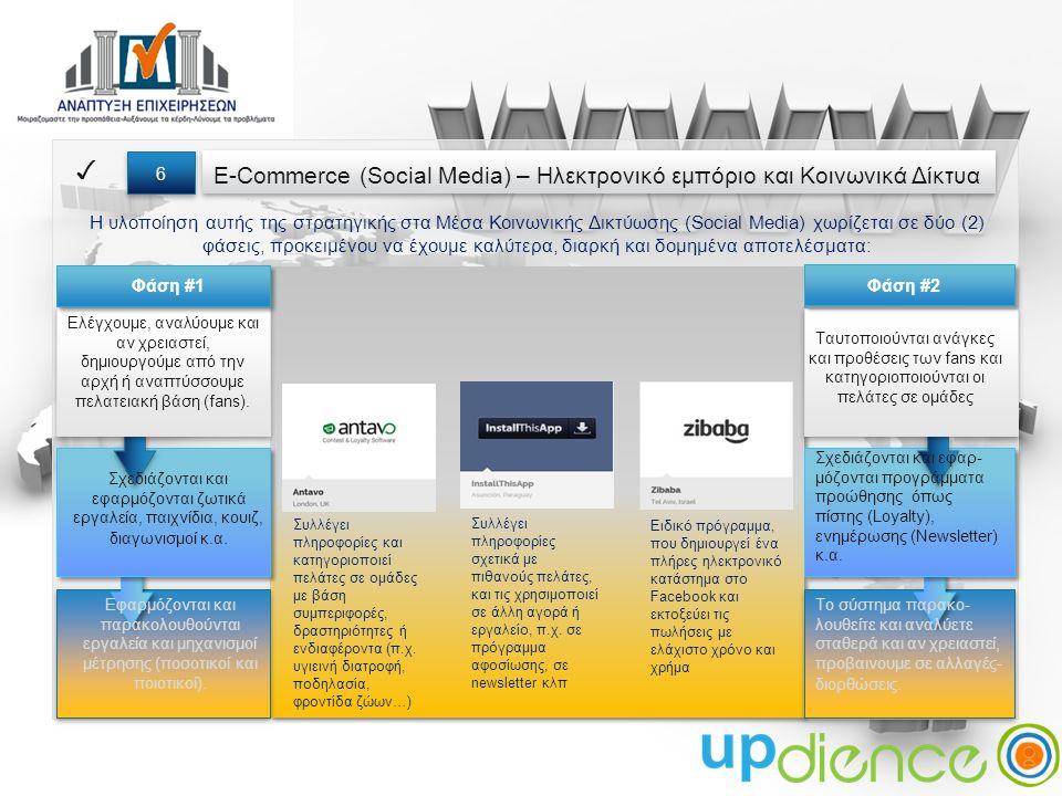 E-Commerce (Social Media) – Ηλεκτρονικό εμπόριο και Κοινωνικά Δίκτυα ✓ 6 6 Η υλοποίηση αυτής της στρατηγικής στα Μέσα Κοινωνικής Δικτύωσης (Social Media) χωρίζεται σε δύο (2) φάσεις, προκειμένου να έχουμε καλύτερα, διαρκή και δομημένα αποτελέσματα: Ελέγχουμε, αναλύουμε και αν χρειαστεί, δημιουργούμε από την αρχή ή αναπτύσσουμε πελατειακή βάση (fans).