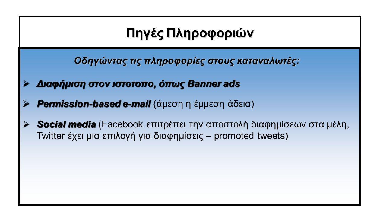 Πηγές Πληροφοριών  Διαφήμιση στον ιστοτοπο, όπως Banner ads  Permission-based e-mail  Permission-based e-mail (άμεση η έμμεση άδεια)  Social media