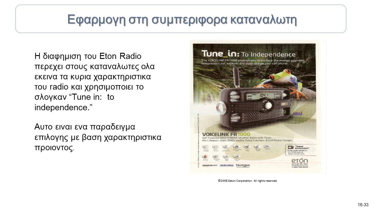 """Η διαφημιση του Eton Radio περεχει στους καταναλωτες ολα εκεινα τα κυρια χαρακτηριστικα του radio και χρησιμοποιει το σλογκαν """"Tune in: to independenc"""