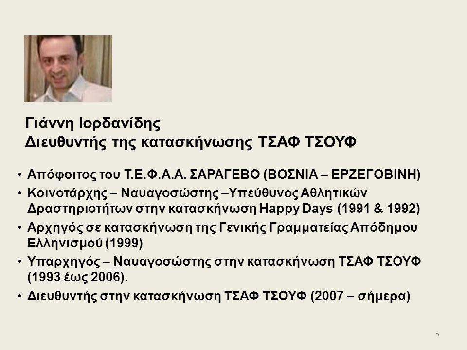 Γιάννη Ιορδανίδης Διευθυντής της κατασκήνωσης ΤΣΑΦ ΤΣΟΥΦ Απόφοιτος του Τ.Ε.Φ.Α.Α.