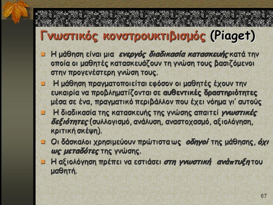 67 Γνωστικός κονστρουκτιβισμός (Piaget) Η μάθηση είναι μια ενεργός διαδικασία κατασκευής κατά την οποία οι μαθητές κατασκευάζουν τη γνώση τους βασιζόμ