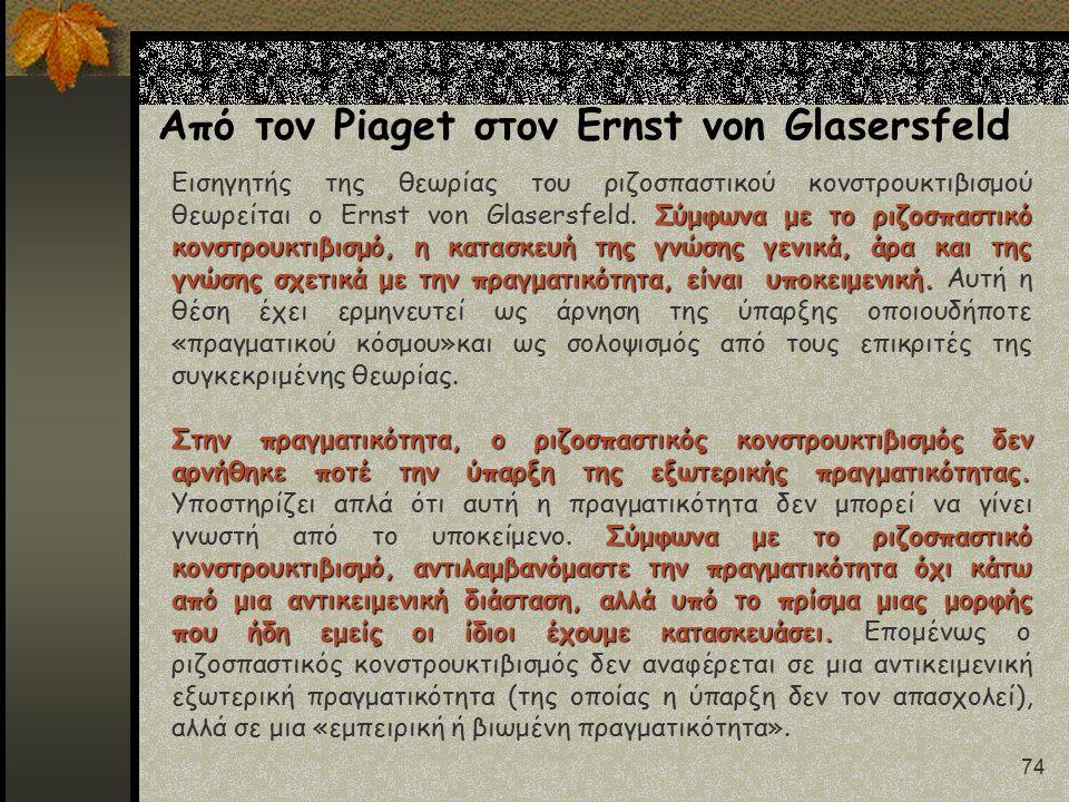 74 Από τον Piaget στον Ernst von Glasersfeld Σύμφωνα με το ριζοσπαστικό κονστρουκτιβισμό, η κατασκευή της γνώσης γενικά, άρα και της γνώσης σχετικά με την πραγματικότητα, είναι υποκειμενική.