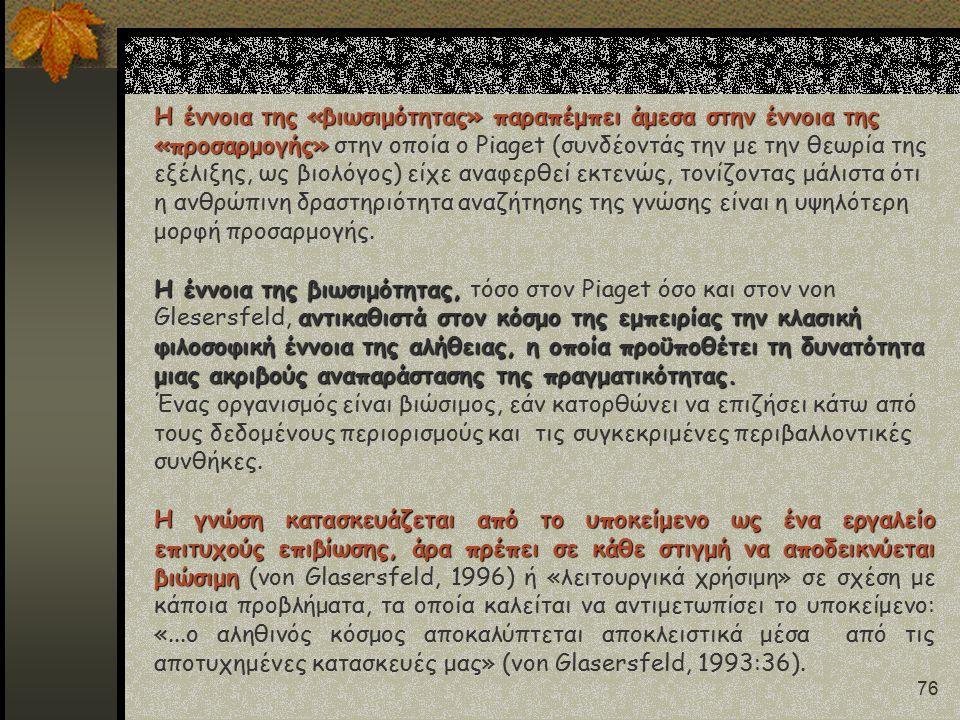 76 Η έννοια της «βιωσιμότητας» παραπέμπει άμεσα στην έννοια της «προσαρμογής» Η έννοια της «βιωσιμότητας» παραπέμπει άμεσα στην έννοια της «προσαρμογής» στην οποία ο Piaget (συνδέοντάς την με την θεωρία της εξέλιξης, ως βιολόγος) είχε αναφερθεί εκτενώς, τονίζοντας μάλιστα ότι η ανθρώπινη δραστηριότητα αναζήτησης της γνώσης είναι η υψηλότερη μορφή προσαρμογής.