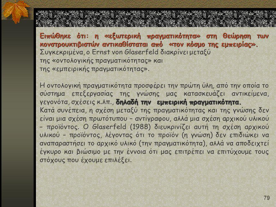 79 Ειπώθηκε ότι: η «εξωτερική πραγματικότητα» στη θεώρηση των κονστρουκτιβιστών αντικαθίσταται από «τον κόσμο της εμπειρίας». Συγκεκριμένα, ο Ernst vo