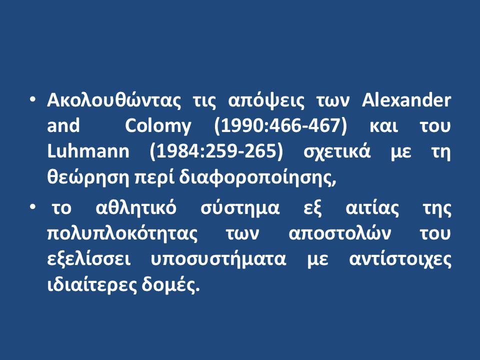 Ακολουθώντας τις απόψεις των Alexander and Colomy (1990:466-467) και του Luhmann (1984:259-265) σχετικά με τη θεώρηση περί διαφοροποίησης, το αθλητικό σύστημα εξ αιτίας της πολυπλοκότητας των αποστολών του εξελίσσει υποσυστήματα με αντίστοιχες ιδιαίτερες δομές.