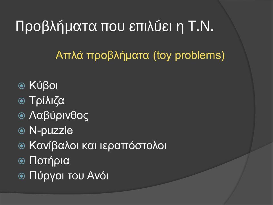 Προβλήματα που επιλύει η Τ.Ν. Απλά προβλήματα (toy problems)  Κύβοι  Τρίλιζα  Λαβύρινθος  Ν-puzzle  Κανίβαλοι και ιεραπόστολοι  Ποτήρια  Πύργοι