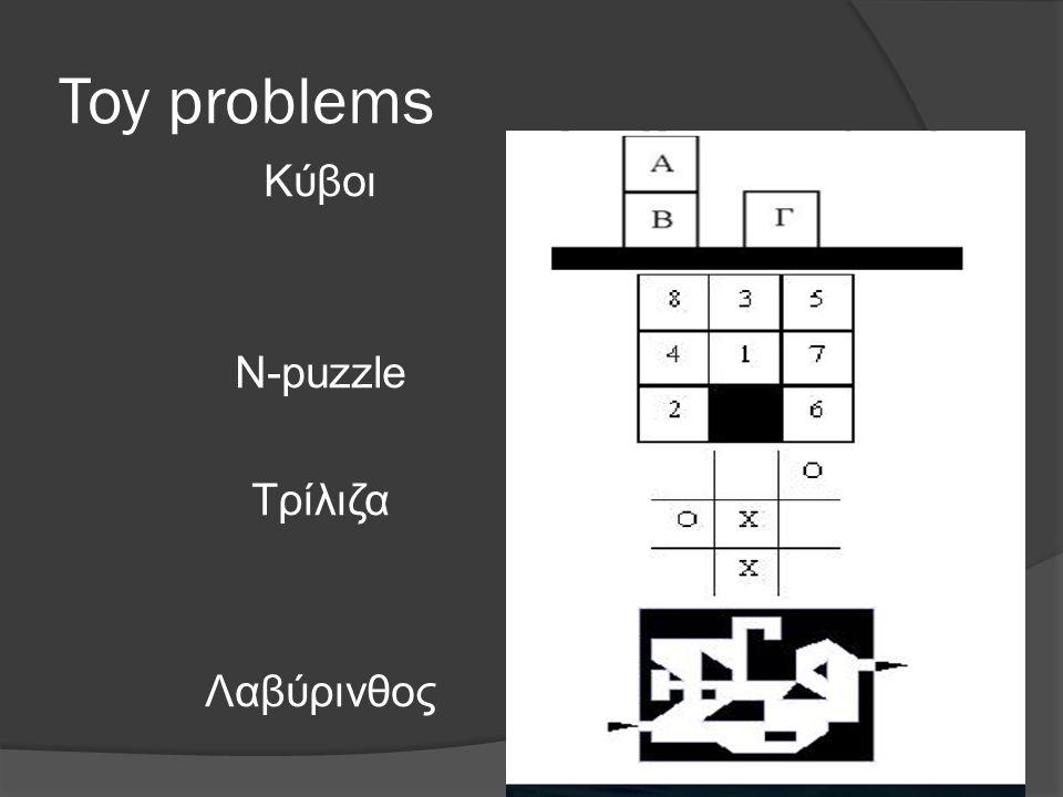 Toy problems Κύβοι N-puzzle Τρίλιζα Λαβύρινθος