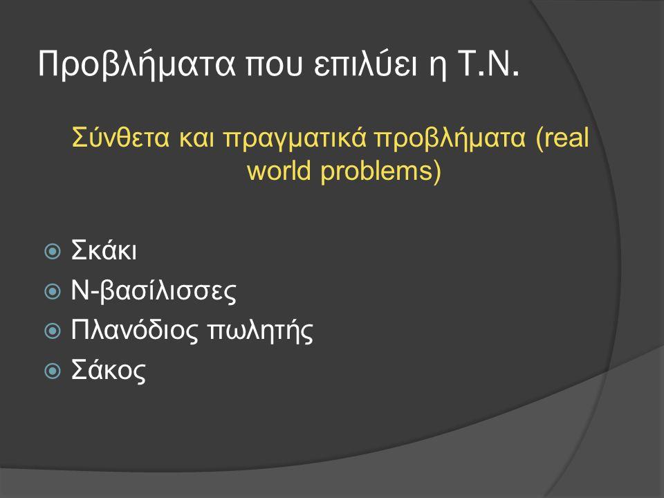 Προβλήματα που επιλύει η Τ.Ν. Σύνθετα και πραγματικά προβλήματα (real world problems)  Σκάκι  Ν-βασίλισσες  Πλανόδιος πωλητής  Σάκος