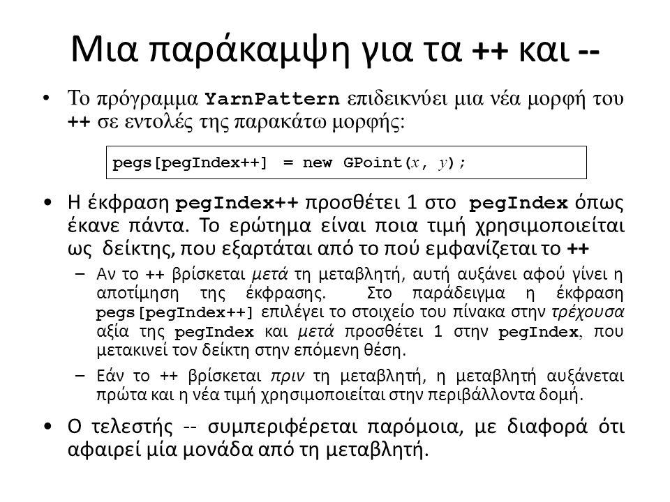 Μια παράκαμψη για τα ++ και -- pegs[pegIndex++] = new GPoint( x, y ); Το πρόγραμμα YarnPattern επιδεικνύει μια νέα μορφή του ++ σε εντολές της παρακάτω μορφής: Η έκφραση pegIndex++ προσθέτει 1 στο pegIndex όπως έκανε πάντα.
