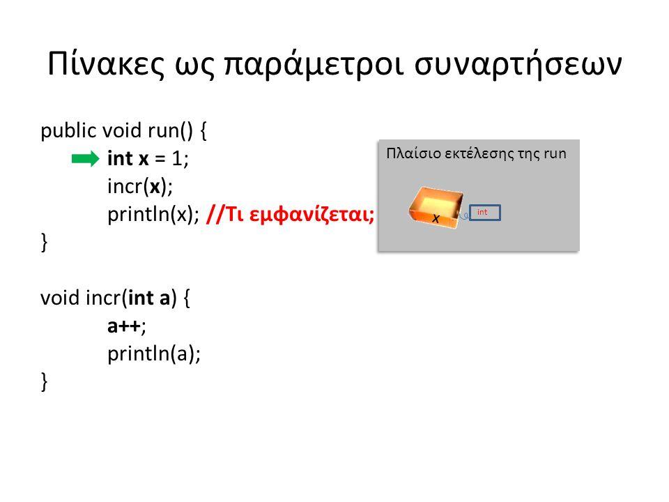 Πίνακες ως παράμετροι συναρτήσεων public void run() { int x = 1; incr(x); println(x); //Τι εμφανίζεται; } void incr(int a) { // Η a έχει την τιμή της x, δεν είναι η x a++; //Αυξάνεται η τιμή της a, όχι αυτή της x println(a); // Εμφανίζει 2 } Πλαίσιο εκτέλεσης της run x int