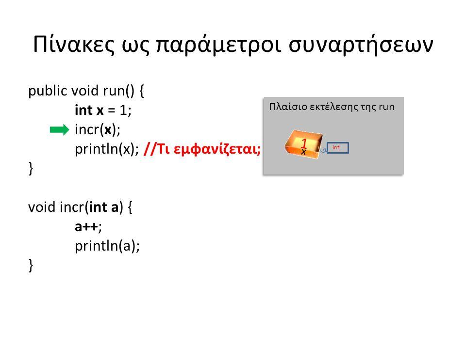 Πίνακες ως παράμετροι συναρτήσεων public void run() { int x = 1; incr(x); println(x); //Τι εμφανίζεται; } void incr(int a) { // Η a έχει την τιμή της x, δεν είναι η x a++; //Αυξάνεται η τιμή της a, όχι αυτή της x println(a); // Εμφανίζει 2 } Πλαίσιο εκτέλεσης της run x int 1