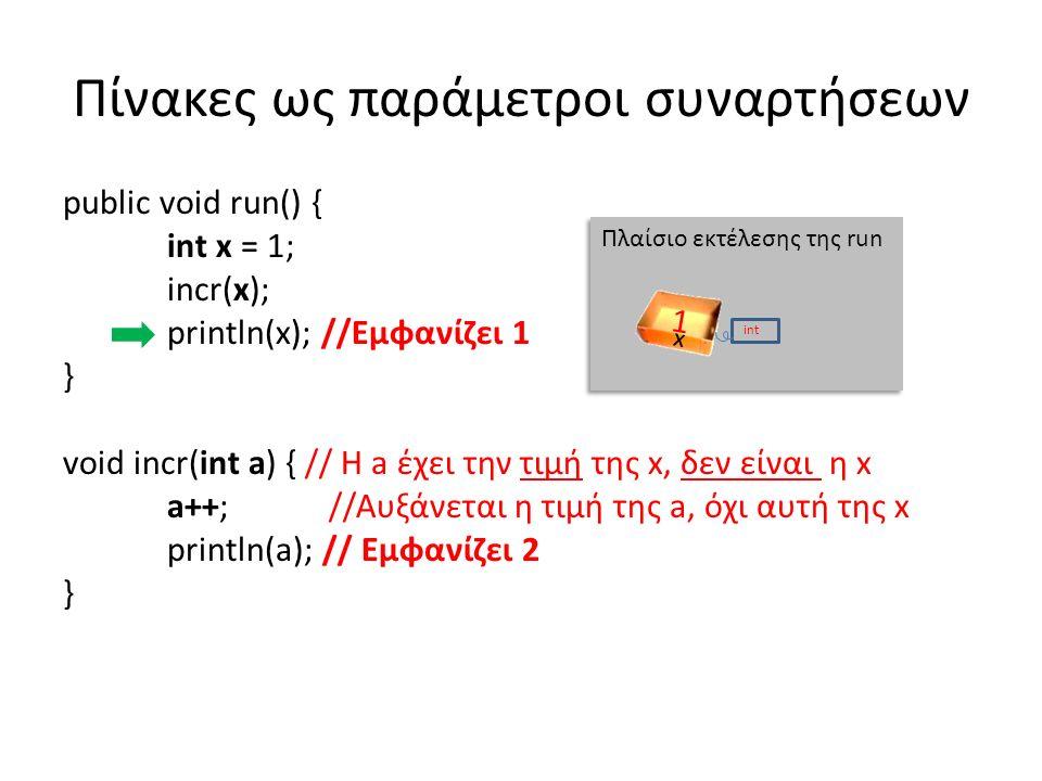 Πίνακες ως παράμετροι συναρτήσεων public void run() { int x = 1; incr(x); println(x); //Εμφανίζει 1 } void incr(int a) { // Η a έχει την τιμή της x, δεν είναι η x a++; //Αυξάνεται η τιμή της a, όχι αυτή της x println(a); // Εμφανίζει 2 } Πλαίσιο εκτέλεσης της run x int 1