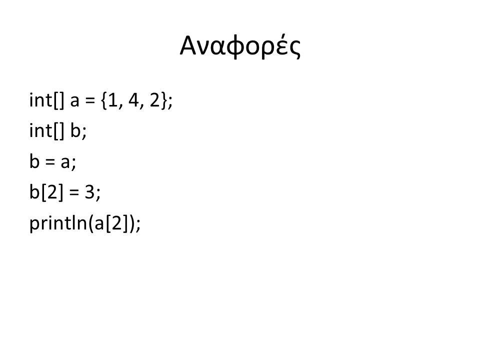 int[] a = {1, 4, 2}; int[] b; b = a; b[2] = 3; println(a[2]); Αναφορές