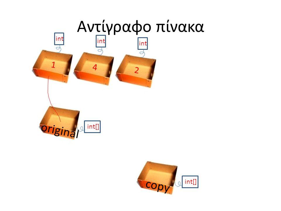 Αντίγραφο πίνακα original int[] int 1 4 2 copy int[]