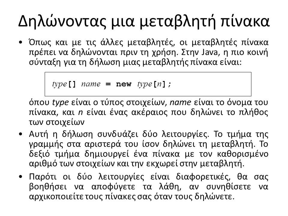 Παράδειγμα δήλωσης πίνακα Η ακόλουθη δήλωση δημιουργεί έναν πίνακα που ονομάζεται intArray που αποτελείται από 10 τιμές τύπου int : int[] intArray = new int[10]; ευκολότερος τρόπος για να απεικονιστούν πίνακες είναι να τους σκεφτείτε ως μια γραμμική συλλογή κουτιών, με το καθένα να χαρακτηρίζεται από τον αριθμό ευρετηρίου του.