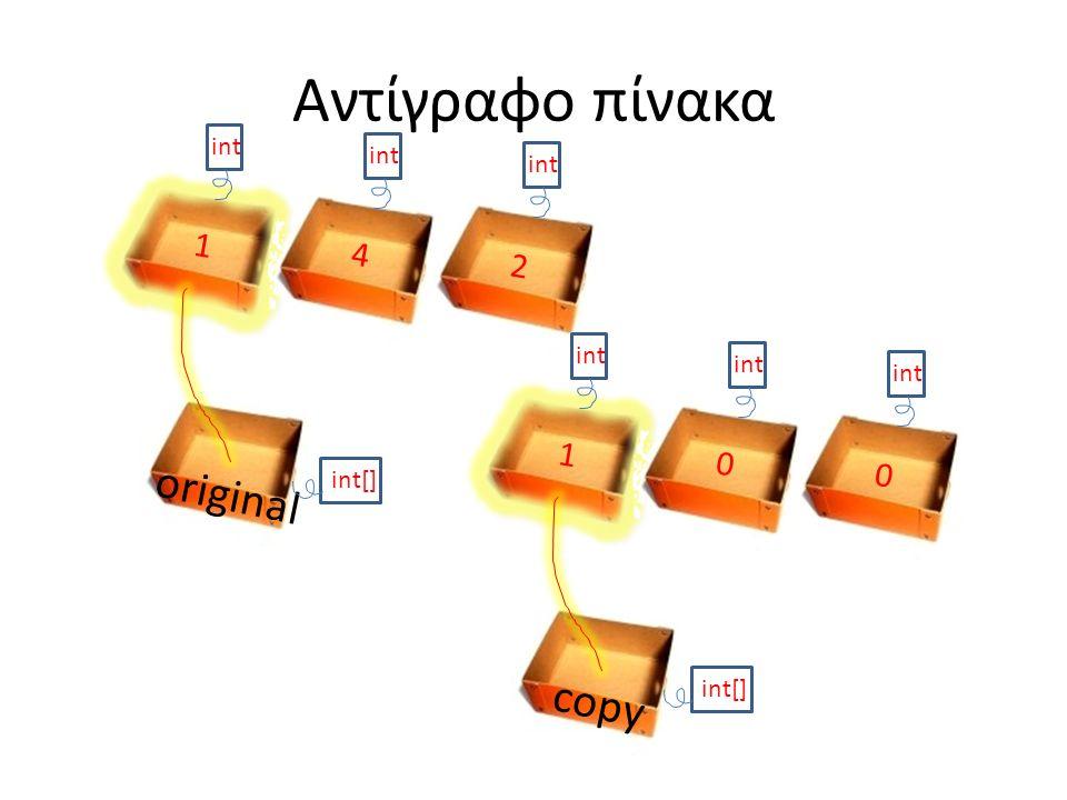 Αντίγραφο πίνακα original int[] int 1 4 2 1 0 0 copy int[]