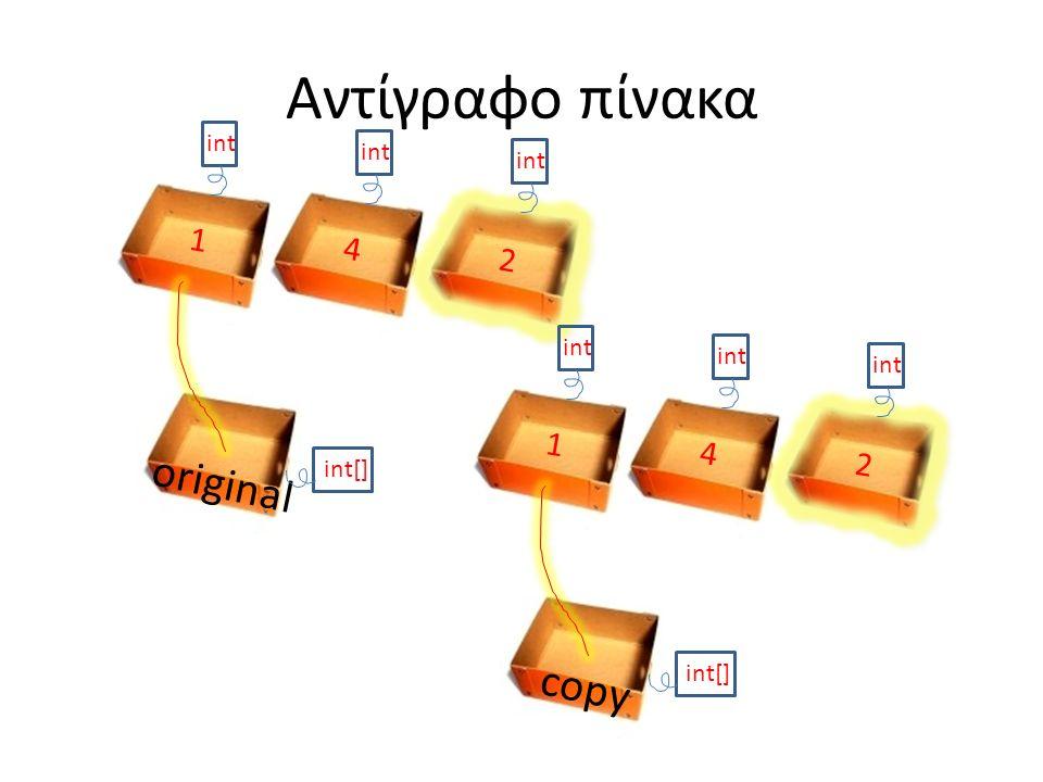 Αντίγραφο πίνακα original int[] int 1 4 2 1 4 2 copy int[]