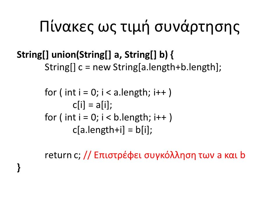 Πίνακες ως τιμή συνάρτησης String[] union(String[] a, String[] b) { String[] c = new String[a.length+b.length]; for ( int i = 0; i < a.length; i++ ) c[i] = a[i]; for ( int i = 0; i < b.length; i++ ) c[a.length+i] = b[i]; return c; // Επιστρέφει συγκόλληση των a και b }