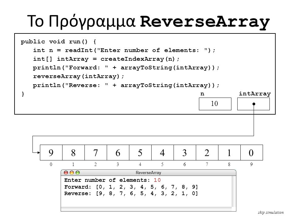 To Πρόγραμμα ReverseArray skip simulation public void run() { int n = readInt( Enter number of elements: ); int[] intArray = createIndexArray(n); println( Forward: + arrayToString(intArray)); reverseArray(intArray); println( Reverse: + arrayToString(intArray)); } n 10 intArray ReverseArray Enter number of elements: 10 Forward: [0, 1, 2, 3, 4, 5, 6, 7, 8, 9] Reverse: [9, 8, 7, 6, 5, 4, 3, 2, 1, 0] private int[] createIndexArray(int n) { int[] array = new int[n]; for ( int i = 0; i < n; i++ ) { array[i] = i; } return array; } 10 narrayi 012345678910 012345678 0000000000 9 0 9 1 8 2 7 3 6 4 5 5 4 6 3 7 2 8 1 9 0 private String arrayToString(int[] array) { String str = ; for (int i = 0; i < array.length; i++) { if (i > 0) str += , ; str += array[i]; } return [ + str + ] ; } arrayistr 012345678910 00, 10, 1, 20, 1, 2, 30, 1, 2, 3, 40, 1, 2, 3, 4, 50, 1, 2, 3, 4, 5, 60, 1, 2, 3, 4, 5, 6, 70, 1, 2, 3, 4, 5, 6, 7, 80, 1, 2, 3, 4, 5, 6, 7, 8, 9 private void reverseArray(int[] array) { for (int i = 0; i < array.length / 2; i++) { swapElements(array, i, array.length - i - 1); } arrayi 012345 private void swapElements(int[] array, int p1, int p2) { int temp = array[p1]; array[p1] = array[p2]; array[p2] = temp; } array 9 p2 0 p1temp 0 public void run() { int n = readInt( Enter number of elements: ); int[] intArray = createIndexArray(n); println( Forward: + arrayToString(intArray)); reverseArray(intArray); println( Reverse: + arrayToString(intArray)); } nintArray 012345678 9876543210 9 0 10