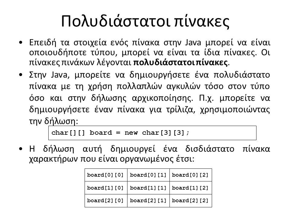 Πολυδιάστατοι πίνακες Επειδή τα στοιχεία ενός πίνακα στην Java μπορεί να είναι οποιουδήποτε τύπου, μπορεί να είναι τα ίδια πίνακες.