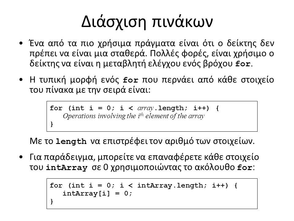 int[][] a = new int[2][]; a[0] = new int[5]; Πίνακες με διαφορετικό αριθμό στηλών a int[][] int 0 0 0 0 0 int[]