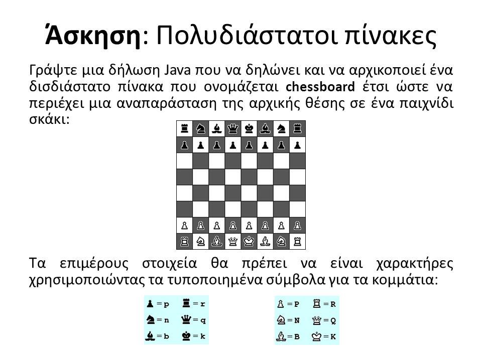 Άσκηση: Πολυδιάστατοι πίνακες Γράψτε μια δήλωση Java που να δηλώνει και να αρχικοποιεί ένα δισδιάστατο πίνακα που ονομάζεται chessboard έτσι ώστε να περιέχει μια αναπαράσταση της αρχικής θέσης σε ένα παιχνίδι σκάκι: Τα επιμέρους στοιχεία θα πρέπει να είναι χαρακτήρες χρησιμοποιώντας τα τυποποιημένα σύμβολα για τα κομμάτια :
