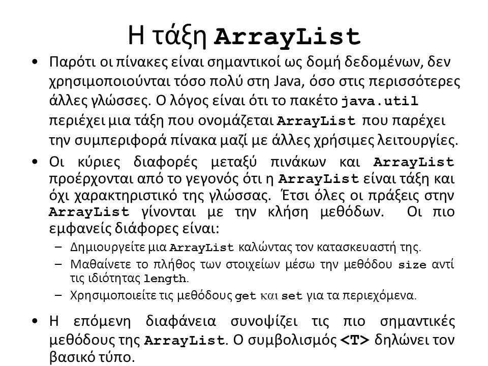 H τάξη ArrayList Παρότι οι πίνακες είναι σημαντικοί ως δομή δεδομένων, δεν χρησιμοποιούνται τόσο πολύ στη Java, όσο στις περισσότερες άλλες γλώσσες.
