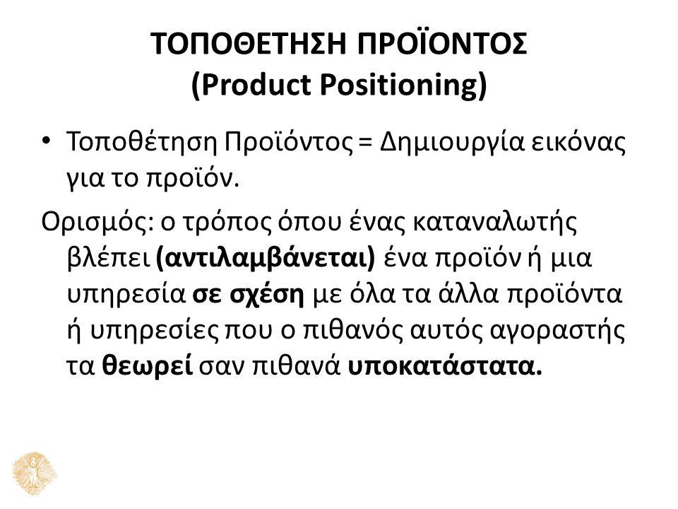 ΤΟΠΟΘΕΤΗΣΗ ΠΡΟΪΟΝΤΟΣ (Product Positioning) Τοποθέτηση Προϊόντος = Δημιουργία εικόνας για το προϊόν. Ορισμός: ο τρόπος όπου ένας καταναλωτής βλέπει (αν