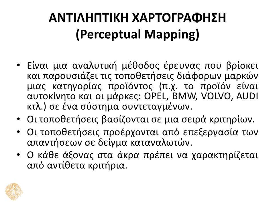 ΑΝΤΙΛΗΠΤΙΚΗ ΧΑΡΤΟΓΡΑΦΗΣΗ (Perceptual Mapping) Είναι μια αναλυτική μέθοδος έρευνας που βρίσκει και παρουσιάζει τις τοποθετήσεις διάφορων μαρκών μιας κα