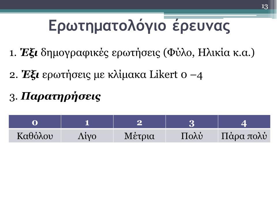 Ερωτηματολόγιο έρευνας 13 1. Έξι δημογραφικές ερωτήσεις (Φύλο, Ηλικία κ.α.) 2. Έξι ερωτήσεις με κλίμακα Likert 0 –4 3. Παρατηρήσεις 01234 ΚαθόλουΛίγοΜ