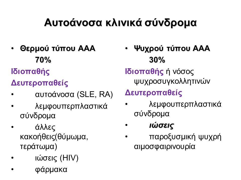 Αυτοάνοσα κλινικά σύνδρομα Θερμού τύπου ΑΑΑΘερμού τύπου ΑΑΑ70% Ιδιοπαθής Δευτεροπαθείς αυτοάνοσα (SLE, RA) λεμφουπερπλαστικά σύνδρομα άλλες κακοήθεις(