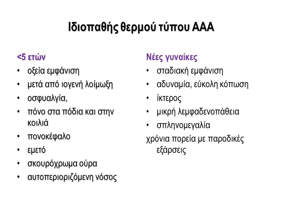 Ιδιοπαθής θερμού τύπου ΑΑΑ <5 ετών οξεία εμφάνισηοξεία εμφάνιση μετά από ιογενή λοίμωξημετά από ιογενή λοίμωξη οσφυαλγία,οσφυαλγία, πόνο στα πόδια και