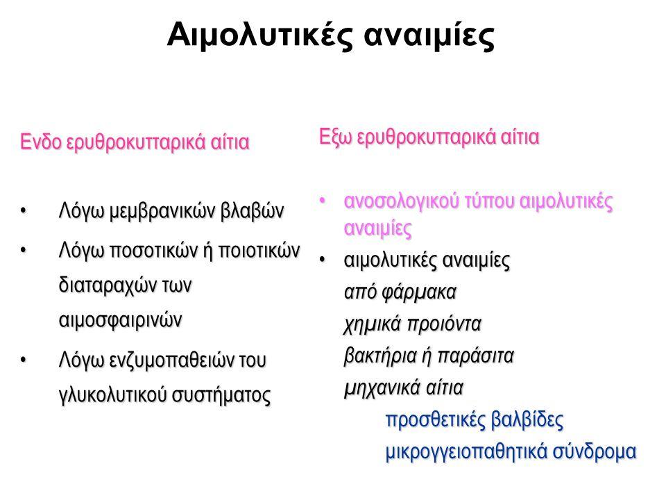 Γενικά χαρακτηριστικά αιμολυτικών αναιμιών