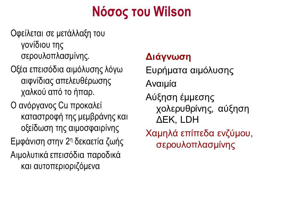 Νόσος του Wilson Οφείλεται σε μετάλλαξη του γονίδιου της σερουλοπλασμίνης. Οξέα επεισόδια αιμόλυσης λόγω αιφνίδιας απελευθέρωσης χαλκού από το ήπαρ. Ο