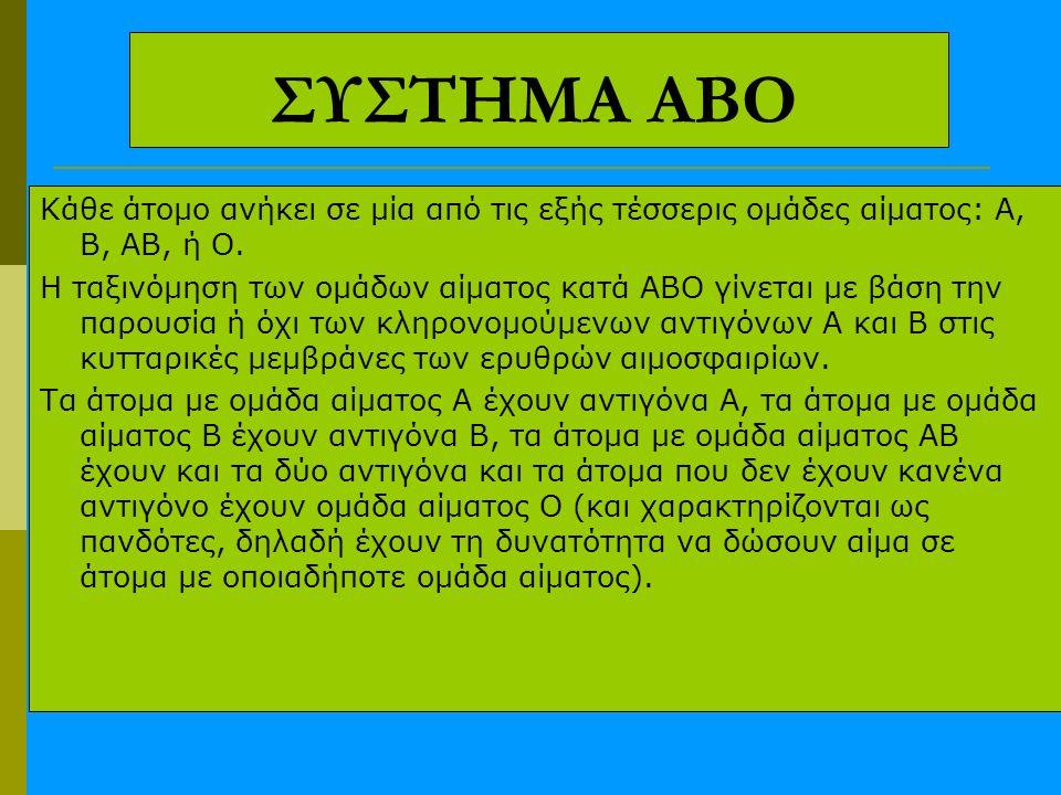 ΣΥΣΤΗΜΑ ΑΒΟ Κάθε άτομο ανήκει σε μία από τις εξής τέσσερις ομάδες αίματος: Α, Β, ΑΒ, ή Ο. Η ταξινόμηση των ομάδων αίματος κατά ΑΒΟ γίνεται με βάση την