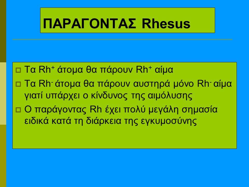 ΠΑΡΑΓΟΝΤΑΣ Rhesus  Τα Rh + άτομα θα πάρουν Rh + αίμα  Τα Rh - άτομα θα πάρουν αυστηρά μόνο Rh - αίμα γιατί υπάρχει ο κίνδυνος της αιμόλυσης  Ο παράγοντας Rh έχει πολύ μεγάλη σημασία ειδικά κατά τη διάρκεια της εγκυμοσύνης