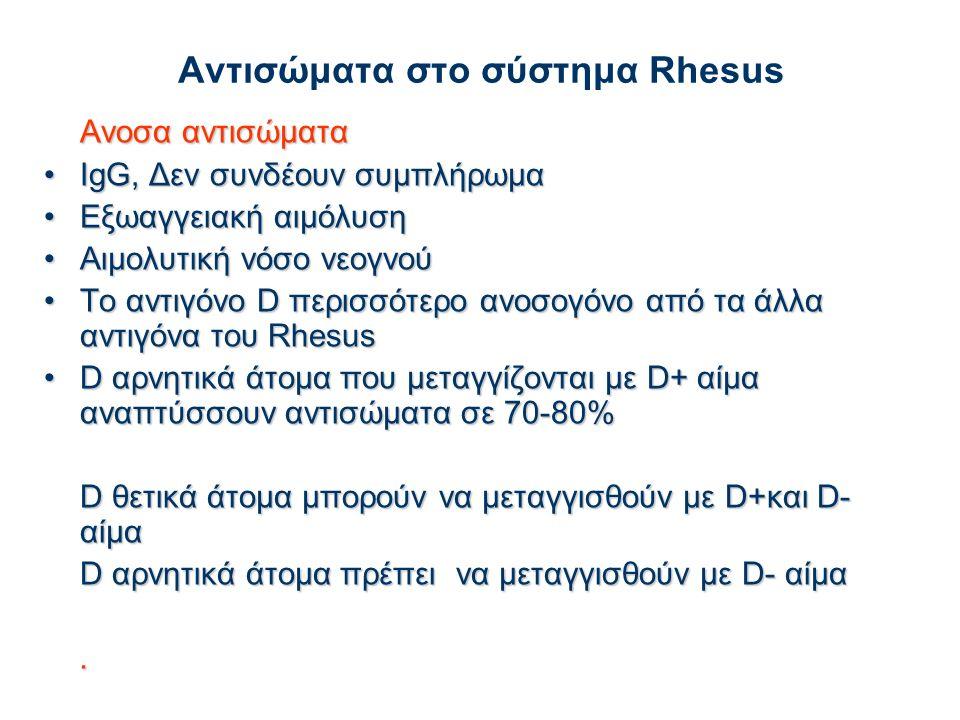 Αντισώματα στο σύστημα Rhesus Ανοσα αντισώματα IgG, Δεν συνδέουν συμπλήρωμαIgG, Δεν συνδέουν συμπλήρωμα Εξωαγγειακή αιμόλυσηΕξωαγγειακή αιμόλυση Αιμολυτική νόσο νεογνούΑιμολυτική νόσο νεογνού Τo αντιγόνo D περισσότερο ανοσογόνο από τα άλλα αντιγόνα του RhesusΤo αντιγόνo D περισσότερο ανοσογόνο από τα άλλα αντιγόνα του Rhesus D αρνητικά άτομα που μεταγγίζονται με D+ αίμα αναπτύσσουν αντισώματα σε 70-80%D αρνητικά άτομα που μεταγγίζονται με D+ αίμα αναπτύσσουν αντισώματα σε 70-80% D θετικά άτομα μπορούν να μεταγγισθούν με D+και D- αίμα D αρνητικά άτομα πρέπει να μεταγγισθούν με D- αίμα.