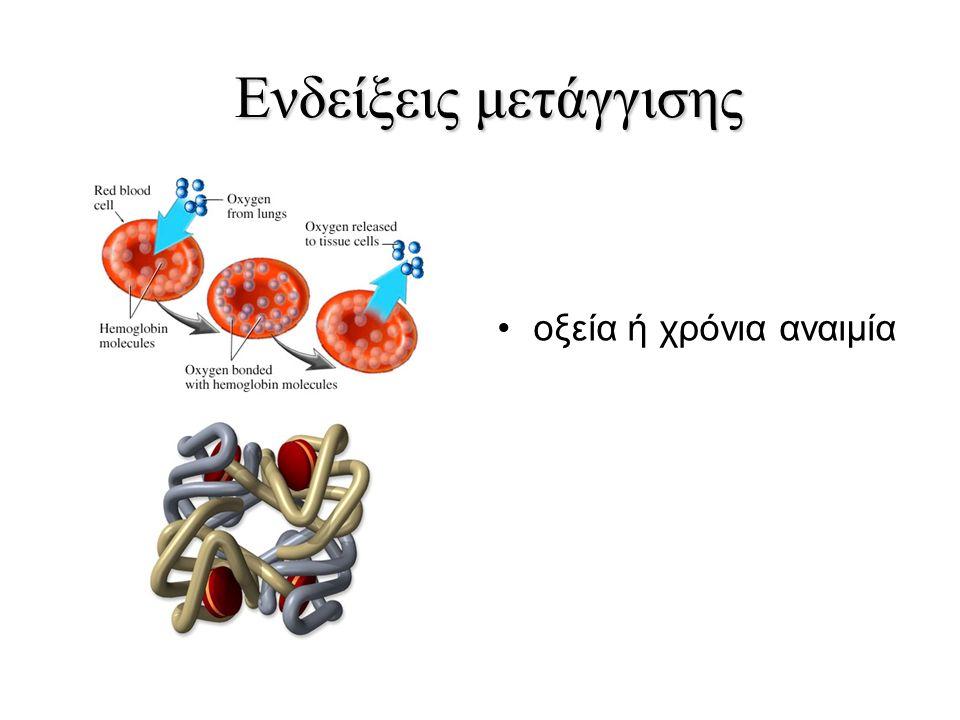 Ενδείξεις μετάγγισης οξεία ή χρόνια αναιμία