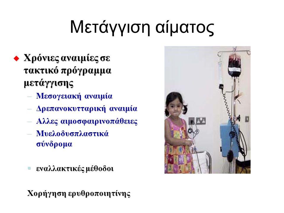 Μετάγγιση αίματος  Χρόνιες αναιμίες σε τακτικό πρόγραμμα μετάγγισης –Μεσογειακή αναιμία –Δρεπανοκυτταρική αναιμία –Αλλες αιμοσφαιρινοπάθειες –Μυελοδυ