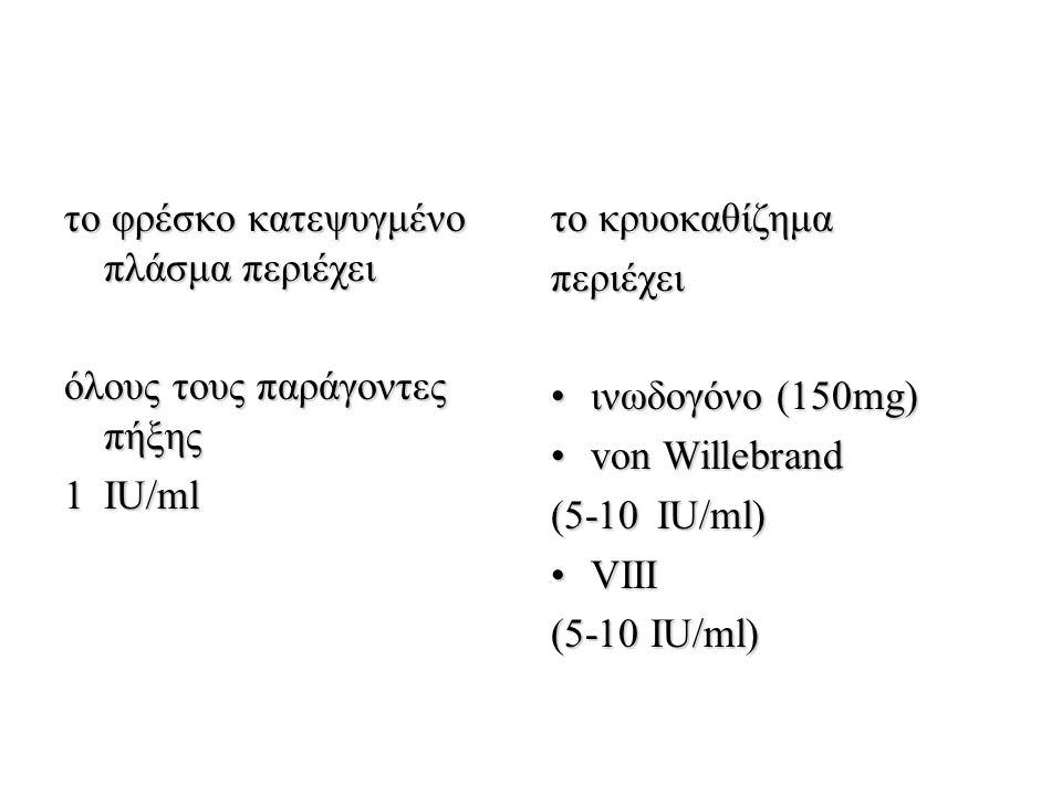 το φρέσκο κατεψυγμένο πλάσμα περιέχει όλους τους παράγοντες πήξης 1IU/ml το κρυοκαθίζημα περιέχει ινωδογόνο (150mg)ινωδογόνο (150mg) von Willebrandvon Willebrand (5-10IU/ml) VIIIVIII (5-10 IU/ml)