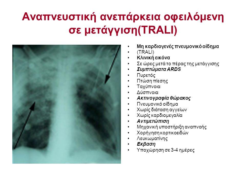 Αναπνευστική ανεπάρκεια οφειλόμενη σε μετάγγιση(TRALΙ) Μη καρδιογενές πνευμονικό οίδημα (TRALI) Κλινική εικόνα Σε ώρες μετά το πέρας της μετάγγισης Συμπτώματα ARDS Πυρετός Πτώση πίεσης Ταχύπνοια Δύσπνοια Ακτινογραφία θώρακος Πνευμονικό οίδημα Χωρίς διάταση αγγείων Χωρίς καρδιομεγαλία Αντιμετώπιση Μηχανική υποστήριξη αναπνοής Χορήγηση κορτικοειδών Λευκωματίνης Εκβαση Υποχώρηση σε 3-4 ημέρες