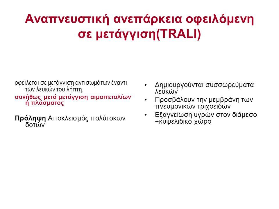 Αναπνευστική ανεπάρκεια οφειλόμενη σε μετάγγιση(TRALΙ) οφείλεται σε μετάγγιση αντισωμάτων έναντι των λευκών του λήπτη. συνήθως μετά μετάγγιση αιμοπετα