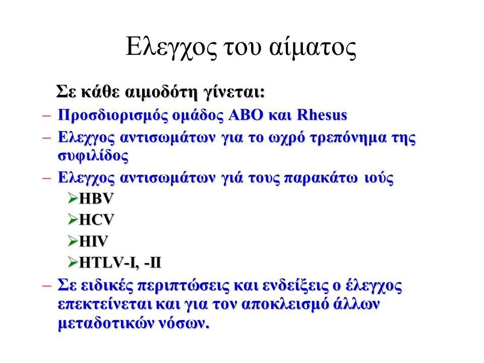 Ελεγχος του αίματος Σε κάθε αιμοδότη γίνεται: Σε κάθε αιμοδότη γίνεται: –Προσδιορισμός ομάδος ΑΒΟ και Rhesus –Ελεχγος αντισωμάτων για το ωχρό τρεπόνημα της συφιλίδος –Ελεγχος αντισωμάτων γιά τους παρακάτω ιούς  HBV  HCV  HIV  HTLV-I, -II –Σε ειδικές περιπτώσεις και ενδείξεις ο έλεγχος επεκτείνεται και για τον αποκλεισμό άλλων μεταδοτικών νόσων.