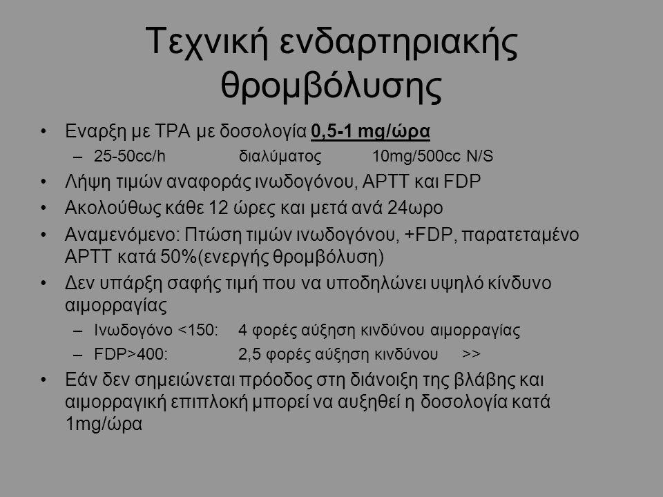 Τεχνική ενδαρτηριακής θρομβόλυσης Εναρξη με TPA με δοσολογία 0,5-1 mg/ώρα –25-50cc/h διαλύματος 10mg/500cc N/S Λήψη τιμών αναφοράς ινωδογόνου, ΑPTT και FDP Ακολούθως κάθε 12 ώρες και μετά ανά 24ωρο Αναμενόμενο: Πτώση τιμών ινωδογόνου, +FDP, παρατεταμένο APTT κατά 50%(ενεργής θρομβόλυση) Δεν υπάρξη σαφής τιμή που να υποδηλώνει υψηλό κίνδυνο αιμορραγίας –Ινωδογόνο <150: 4 φορές αύξηση κινδύνου αιμορραγίας –FDP>400: 2,5 φορές αύξηση κινδύνου >> Εάν δεν σημειώνεται πρόοδος στη διάνοιξη της βλάβης και αιμορραγική επιπλοκή μπορεί να αυξηθεί η δοσολογία κατά 1mg/ώρα